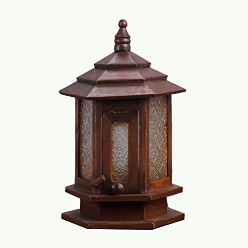 ANDEa Lampe de table en bois massif Teck avec des lumières de jardin en verre rétro Personnalité Lampes décoratives Originalité (Couleur : A)