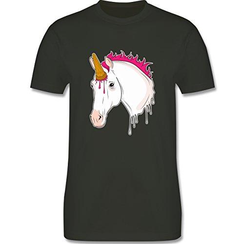 Einhörner - Einhorn mit Eis - Herren T-Shirt Rundhals Army Grün