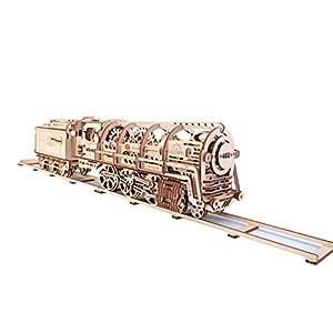 UGEARS-Locomotora con Remolque 70012 - Locomotive con Tender, 3D de Madera Montar sin Pegamento, Color Unisex