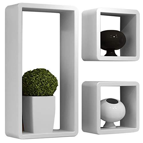 Bakaji set 3 mensole da parete moderne design rettangolare e cubo mensola scaffale 2 ripiano in legno mdf varie dimensioni (bianco)