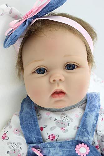 """ZIYIUI 22 """"55cm Reborn Baby Doll Reborn Doll Vinilo de Silicona Bebé Realista Bebé recién Nacido Parece un bebé Real El Uso de una Falda de Mezclilla se ve Gratis y fácil"""