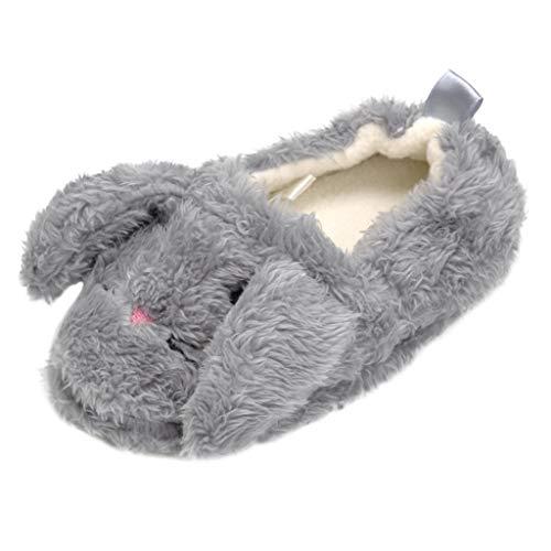 bobo4818 Cute Home Schuhe, Kid Baby Jungen Mädchen Cartoon Tier Indoor Warm Slipper Weiche Sohle Freizeitschuhe (4.5-5.5Years, Gray)