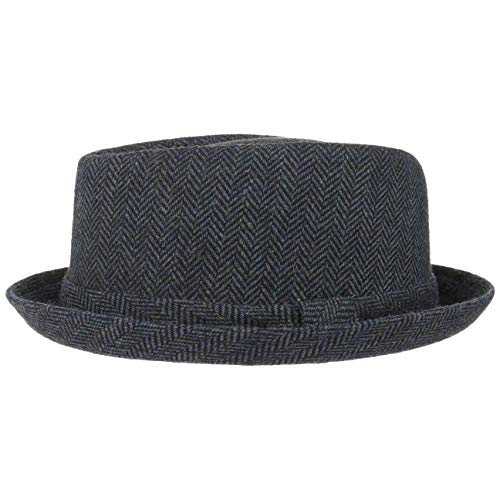 Lipodo Diamond Crown Herringbone Wollhut Damen/Herren | Pork Pie mit Wolle | Fedora mit Innenfutter | Stoffhut Sommer/Winter | Hut schwarz-blau M (56-57 cm)