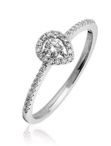 0.25ct Certificato G/VS2Round Brilliant Centro con forma di pera Halo Diamante Anello con diamanti sulle spalle in Oro Bianco 18K, oro bianco, 56 (17.8), cod. FL-3471
