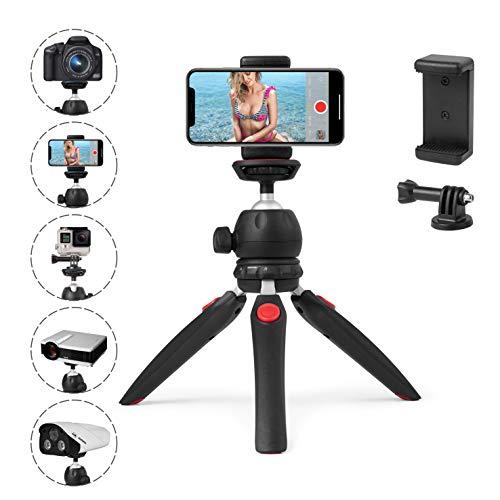 Polarduck Mini Stativ, Handy Stativ, Kamera Stativ, Stativ für iPhone/DLSR/Beamer/Webcam mit GoPro Halterung und Smartphone Halterung, Kugelkopf Stativkopf 360 Grad Panorama und Ausziehbare Beine