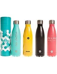 Botella de agua Hydra Sternitz en Acero Inoxidable con aislamiento al vacio. Mantiene tus bebidas frías por 24 horas y calientes por 12 horas. Con práctico y elegante forro para guardar en casa. Water Bottle (Aquamarina)