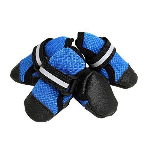 Kuncg Paw Protector Perro Mascota Botas Malla Cool Cómodo Transpirable Y Antideslizante Reflectante Protector Pequeño Perro Zapatos Cuatro Estaciones Se Aplican Azul M