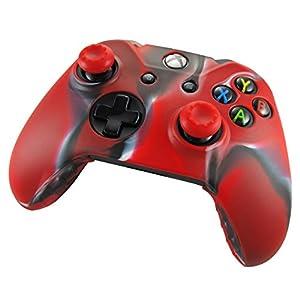 Pandaren® Silikon hülle skin Schutzhülle für Xbox One controller (Tarnung rot) x 1 + thumb grip aufsätze x 2