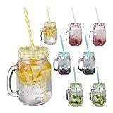 Relaxdays Trinkgläser mit Strohhalm, 8er Set, 400 ml, Gastro, Deckelgläser mit Henkel, Ice Cold Drink Gläserset, bunt, Glas, Standard