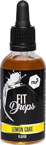 nu3 Fit Drops | 50 ml Liquid Aroma | Lemon-Cake Aromatropfen | kalorienfreie Alternative zu Zucker mit Zitrone- Kuchen flavour | passt zu Whey Protein, Quark oder Kuchen | Vegan