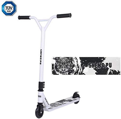 Clothink Stunt Scooter 360° Lenkung Sports Tretroller Roller mit 100mm PU Wheels Kickscooter für Kinder Erwachsene Weiss