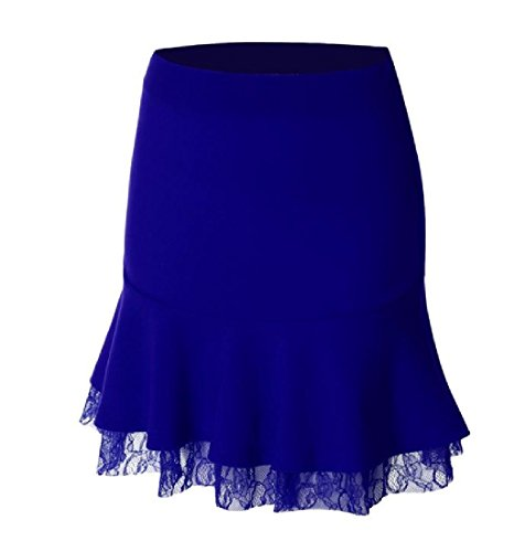 CuteRose Women Oversize Lace Trim Pure Color Basic Cozy A-Line Pencil Skirt S Sapphire Blue (Tan Swim Shorts)