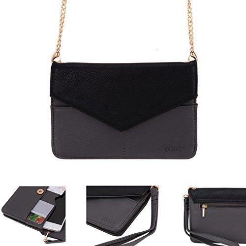 conze de femmes d'embrayage portefeuille tout ce sac avec bretelles pour Smart Téléphone pour Blu Neo X Mini gris gris