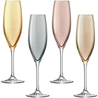 LSA International 225 ml Polka Champagne Flute, Assorted (Pack of 4)