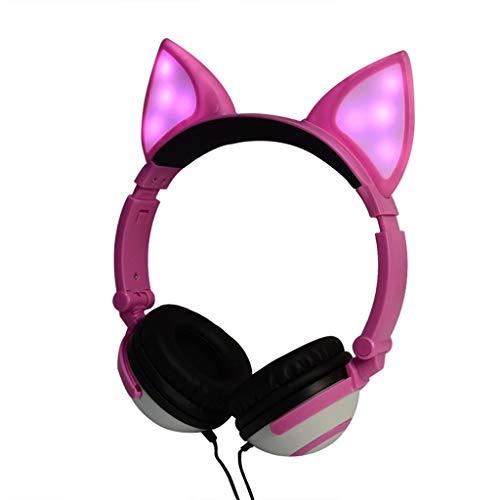 EDTO Gaming-Headset mit Katzenohren für PS4, PC, Xbox One Controller, Geräuschunterdrückung, Mikrofon, LED-Licht, Bass-Surround, weiche Memory-Ohrenschützer für Laptop Mac Nintendo Spiele Pink Rose