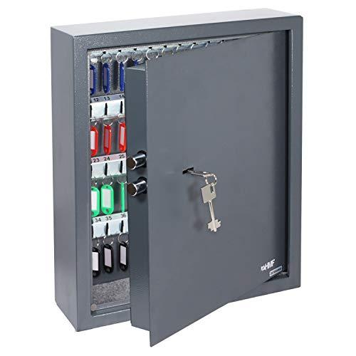 HMF 2971-11 Schlüsseltresor 71 Haken, Schlüsselschrank mit Doppelbartschloss, 46 x 36 x 12 cm, anthrazit