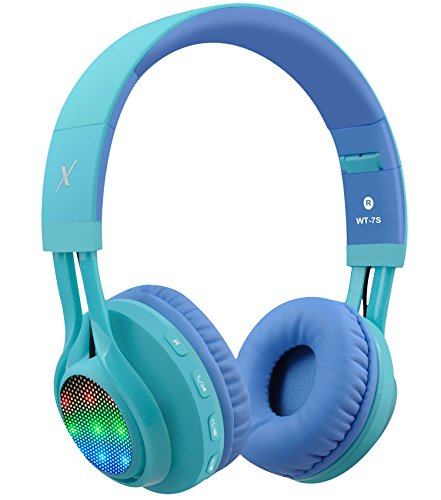 Riwbox WT-7S Bluetooth Headphones, LED Light Up Wireless Foldable Stereo Headset with Microphone and Volume Control for PC/ iPhone/ TV/ iPad (Blue)