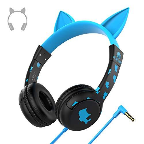 Kinder-Kopfhörer, iClever Cat-inspirierte Kopfhörer für Kinder, verdrahtete On-Ear-Headsets mit 85dB Volume Limited, Lebensmittelqualität Silikon Material, gut für Kinder Geschenke, blau und schwarz