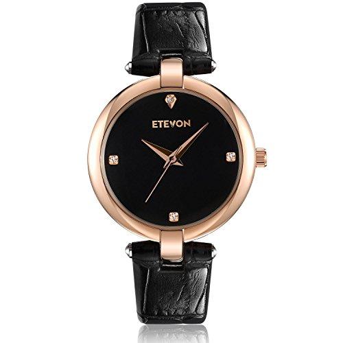 DAGE Women's Casual Crystal Quartz Leather Watch mit schwarzem Zifferblatt und Rose Gold Edelstahl Case, einfach Kleid Handgelenk Uhren für Frauen Ladies (Uhren Crystal Womens)