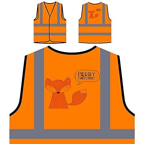 Joyeux noel xmas fox funny nouveauté nouveau Veste de protection orange personnalisée à haute visibilité