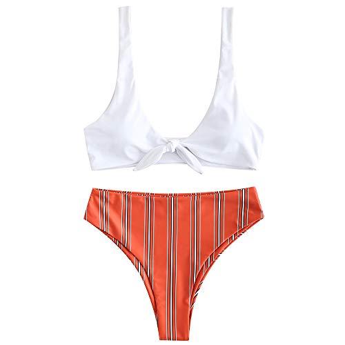 ZAFUL Damen Bikini-Set Gestreifte Bikinis mit Knoten Bademode Bikini Set High Cut Badeanzug Swimwear Swimsuit Chestnut RotMedium