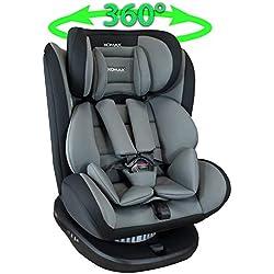 Siège Auto Isofix pivotant 360 degrés I inclinable I Groupe 0+/1/2/3 I evolutif 0-36 kg, 0-12 ans I Housse amovible et lavable I ECE R44/04