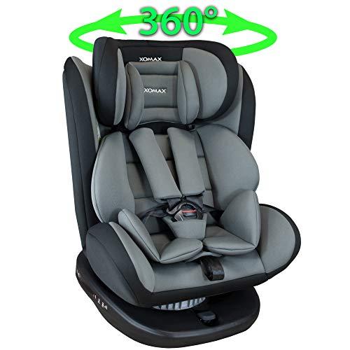 XOMAX 916 Kindersitz drehbar 360° mit ISOFIX und Liegefunktion I mitwachsend I 0-36 kg, 1-12 Jahre, Gruppe 0/1/2/3 I 5-Punkt-Gurt und 3-Punkt-Gurt I Bezug abnehmbar, waschbar I ECE R44/04