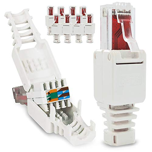 10x Netzwerkstecker werkzeuglos RJ45 CAT6 LAN UTP Kabel Stecker ohne Werkzeug werkzeugfrei CAT5 CAT7 Verlegekabel Patchkabel Netzwerkkabel Toolless Modular Plug Connector Crimpstecker -
