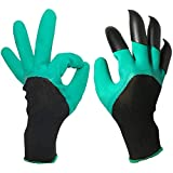 JSY-up Unisex Garden Gloves with Sturdy Fingertips Claws on Right Hand for Digging and Planting 1 Pairs