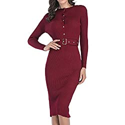 OSYARD Damen Pullover Kleid,Strickpullover,Maxikleid,Dress, Frauen Partykleid Winter Langarm Button Back Split Knielang Abendkleid Sexy Bodycon Strickkleid Slim Fit Sweater Lang(M, Rot)