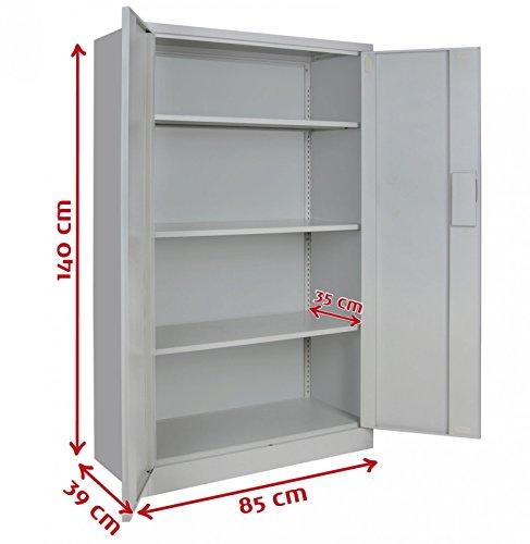 2er Set Spind Büroschrank Aktenschrank 140 x 85 x 39 cm Metallschrank Universalschrank mit 3 Einlegeböden, Höhe frei montierbar Ordnerschrank , Farbe:Grau-Dunkelgrau