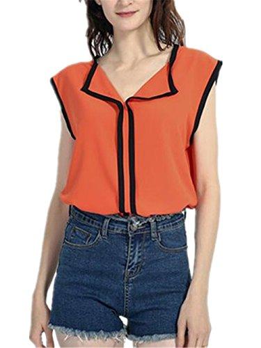 AILIENT Donna Camicie Senza Maniche Elegante Maglietta Blusa T-Shirt Sexy V-Collo Camicetta Bluse Orange