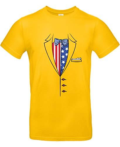 makato Herren T-Shirt mit Motiv American Tuxedo Gold XS (Gold Tuxedo)