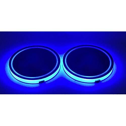 , 2 stücke Auto LED Cup Coaster Mat Pad Wasserdichte Innen Auto Lichter mit Vibrationssensor ()