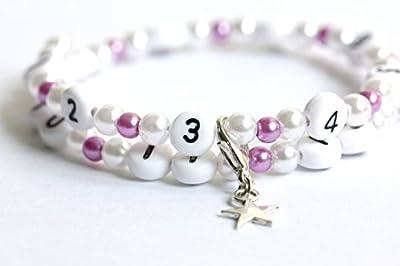 Bracelet d'allaitement de couleur blanc et violet claire en acrylique
