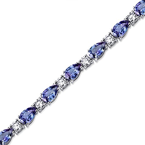 Revoni 13.00 carats Pear Shape Created Alexandrite & White CZ Bracelet in Sterling Silver