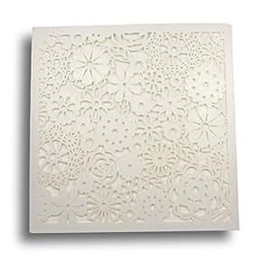 Wedding Wonders Petals Flower Carte pochette de faire-part d'invitation avec encart et enveloppe Motif floral découpé au laser Nacré