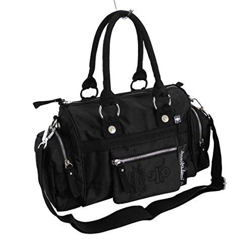 Jennifer Jones - modische sportliche Damen Handtasche Umhängetasche Bowlingtasche - präsentiert von ZMOKA® in versch. Farben (Schwarz)