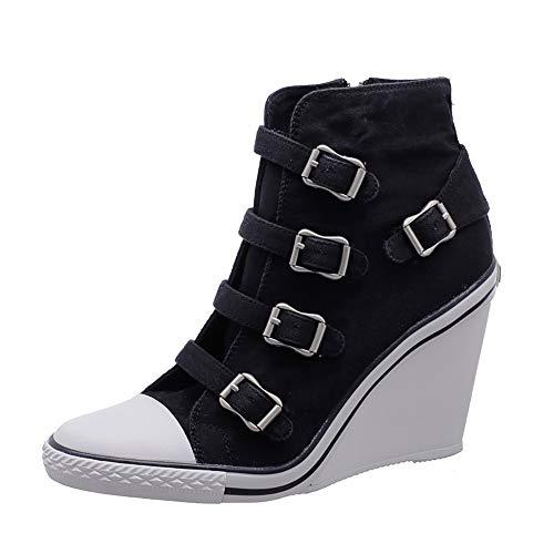 GRRONG suKeil Turnschuhe hoch zu helfen, waschen Denim Reißverschluss Gürtelschnalle Schuhe Sport Casual Women Fashion Neuheit 5-8cm