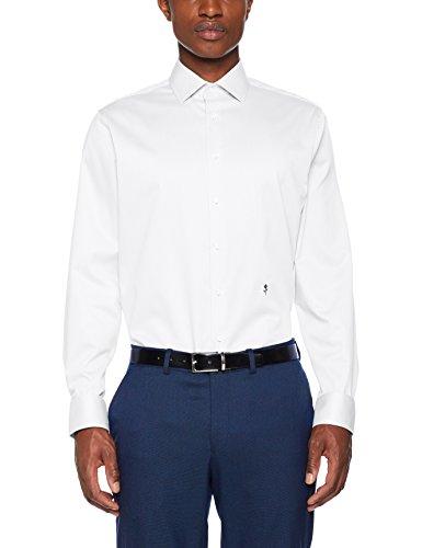 Seidensticker Herren Businesshemd Tailored Langarm mit Kent-Kregen Uni Bügelfrei Das Original, Weiß (Weiß 01), Kragenweite: 42 cm