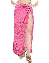648495bfef LA LEELA Women's Beach Swimwear Swimsuit Smooth Rayon Bikini Skrirt Sarong  Wrap Valentine Pink