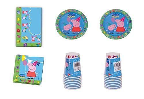 ALMACENESADAN 0463, Pack Desechables Fiesta y Cumpleaños Peppa Pig, 16 Vasos, 16 Platos 23 cm, 20 servilletas y 1 Mantel 120x180 cms
