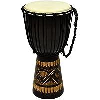 Nexos Djembe Trommel Buschtrommel Afrika-Style geschnitzt Handarbeit exotische Motive Schnüre Knoten Ziegenfell schwarz braun verschiedene Größen wählbar (70 cm)