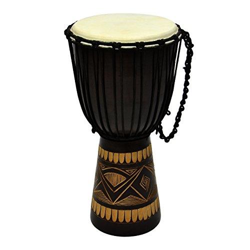 50 cm Djembe Trommel Buschtrommel Afrika-Style geschnitzt Handarbeit exotische Motive Schnüre Knoten Ziegenfell schwarz braun