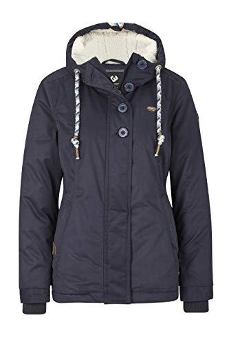 Ragwear Lynx Teddy Damen Frauen Winterjacke mit Kapuze,durchgängiges Futter,Monade,Regular Fit,wasserabweisend,Navy(2028), L (Frauen Teddy)