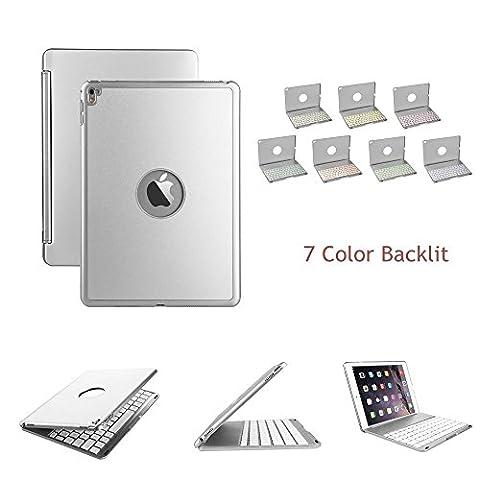 elecguru iPad Pro 9,7Schutzhülle mit Tastatur, Slim Aluminium Legierung Buttom Bluetooth Tastatur Schutzhülle mit 7Farbe LED Hintergrundbeleuchtung für iPad Pro 24,6cm silber