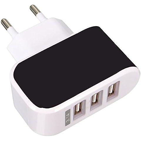 & # X2728; netta soluzioni & # X2728; caricatore USB 3porte universale settore parete 3.1A max), Adattatore settore USB per Apple iOS, Android, dispositivi portatile Windows, ecc.–nero