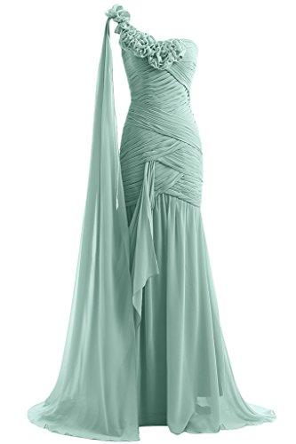 Royaldress Royal Blau Chiffon Ein-traeger Abendkleider Ballkleider  Brautmutterkleider Schmaler Schnitt Rock Hell Gruen