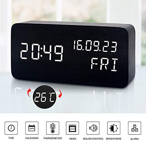 MUMUWIND Reloj Despertador de Madera con 3 Niveles Brillo Ajustable Control de Voz Pequeño Reloj Despertador...