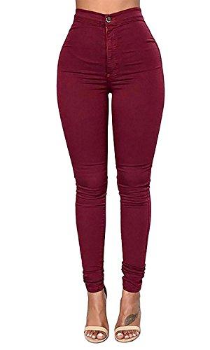 LooBoo Cintura Alta Pantalones Jeans Mujer Elástico